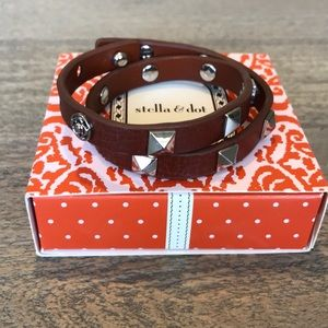 NIB Stella & Dot Leather Studded bracelet